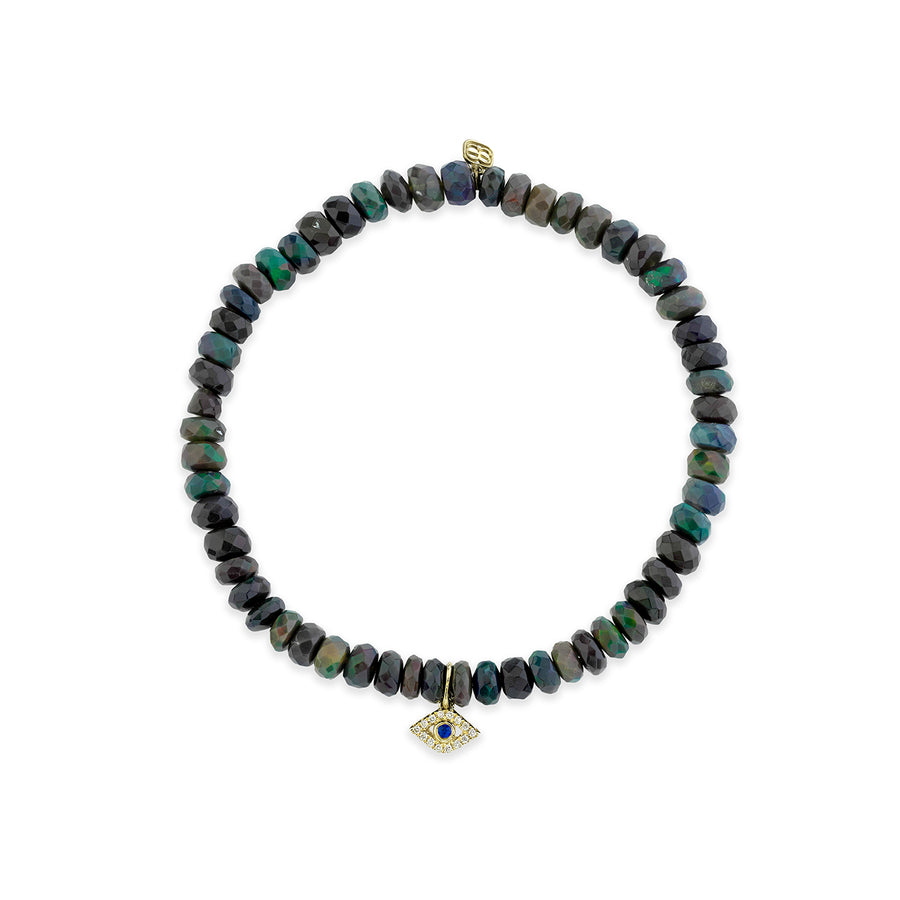 Gold & Diamond Bezel Evil Eye on Black-Blue Ethiopian Opal