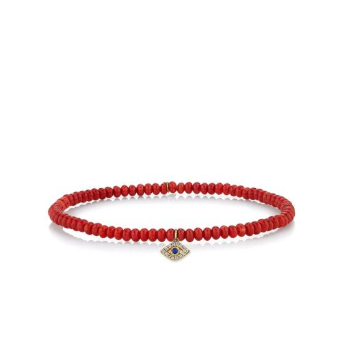 Men's Collection Yellow Gold Bezel Sapphire & Diamond Evil Eye on Red Bamboo Coral