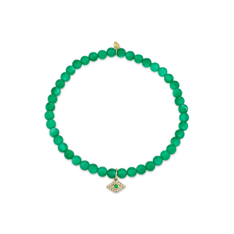 Gold & Diamond Small Evil Eye on Green Onyx