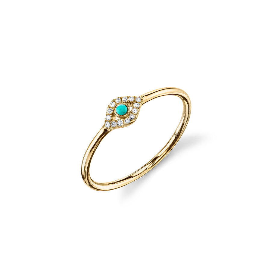 Gold & Diamond Small Bezel Evil Eye Ring