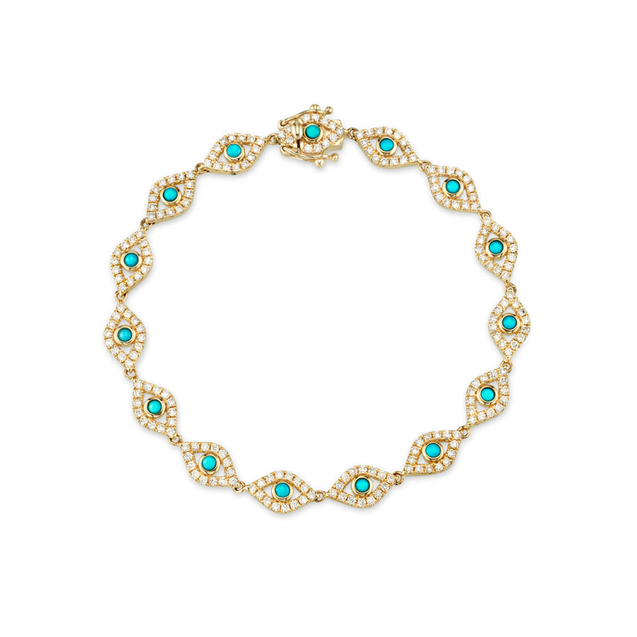 Gold & Diamond Bezel Evil Eye Link Bracelet with Turquoise Center