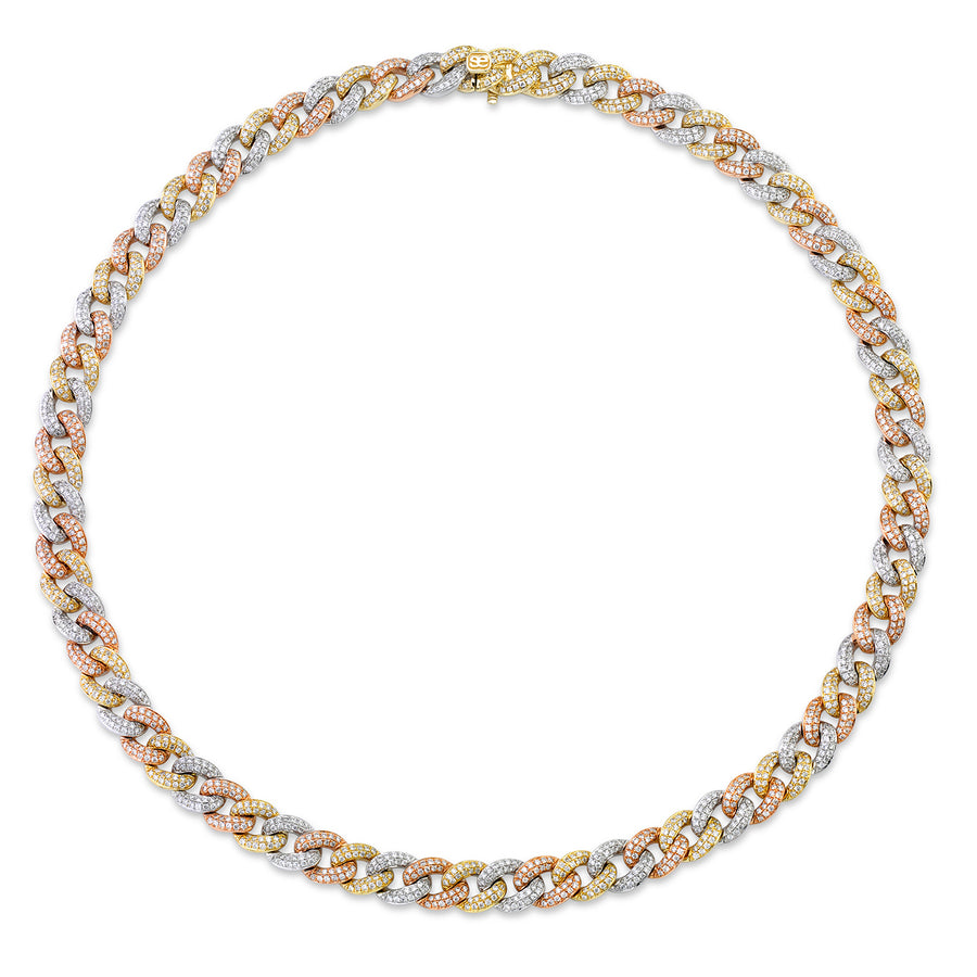 Tri-Tone Gold & Pave Diamond Small Link Necklace