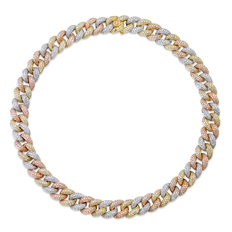 Tri-Tone Gold & Pave Diamond Link Necklace
