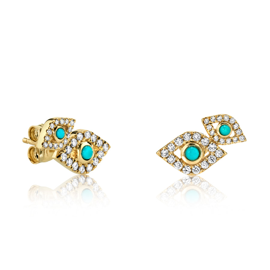 Gold & Diamond Bezel Evil Eye Double Studs