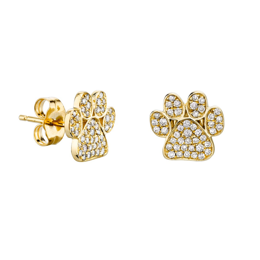Gold & Diamond Paw Stud Earrings