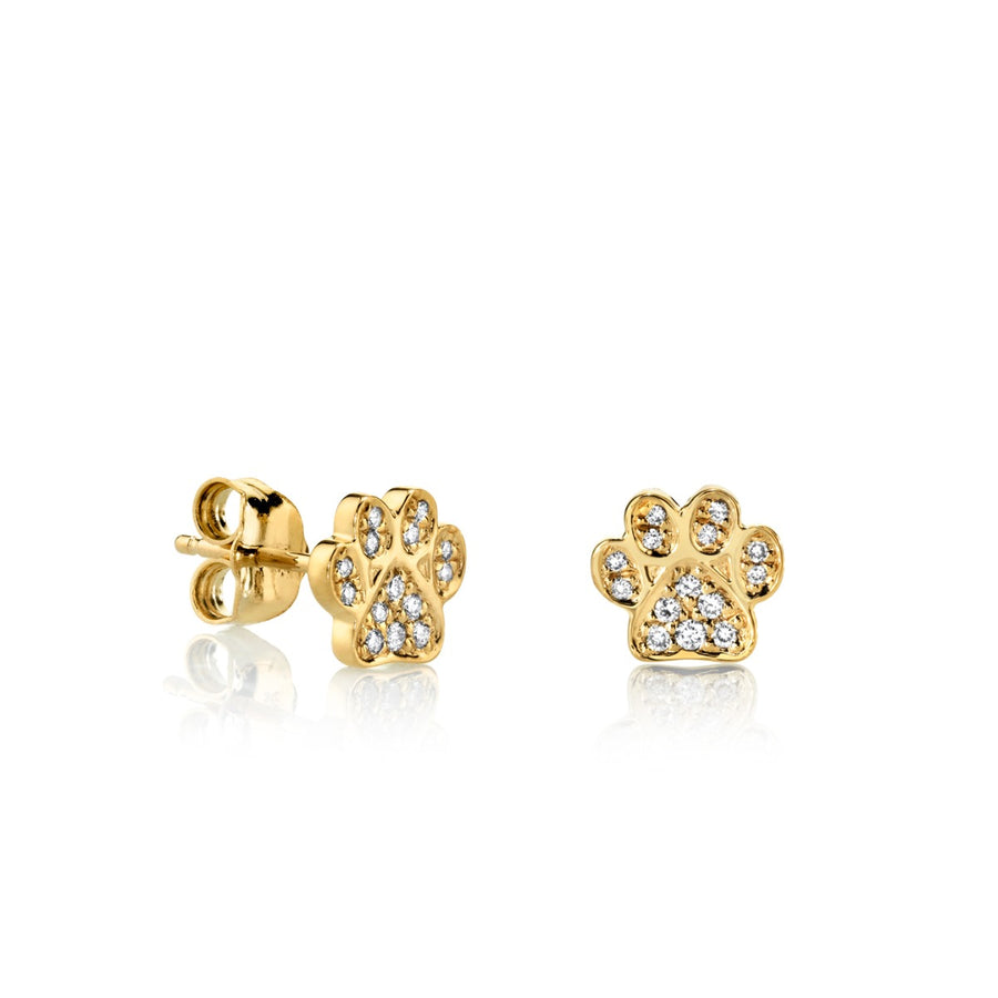 Small Gold & Diamond Paw Stud Earrings