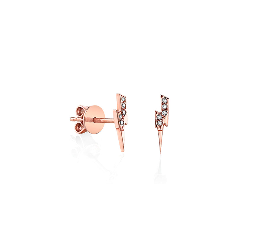 Yellow Gold Pave Diamond Lightning Bolt Stud Earrings Sydney Evan