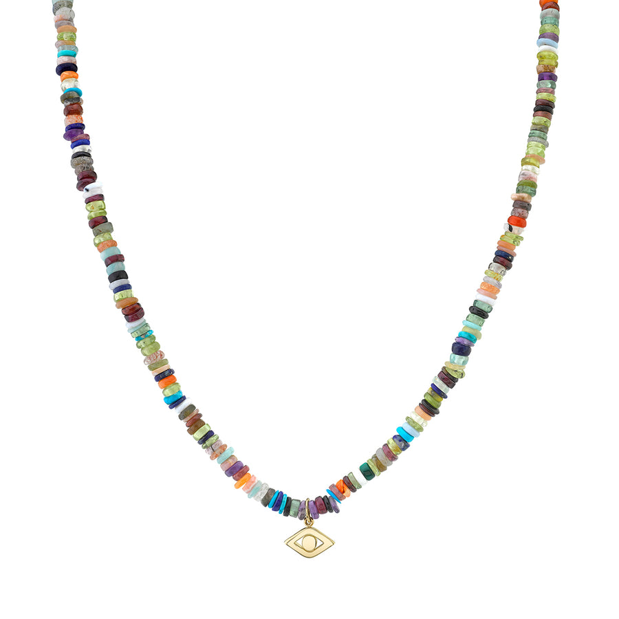 Men's Collection Pure Gold Evil Eye on Rainbow Heishi Necklace