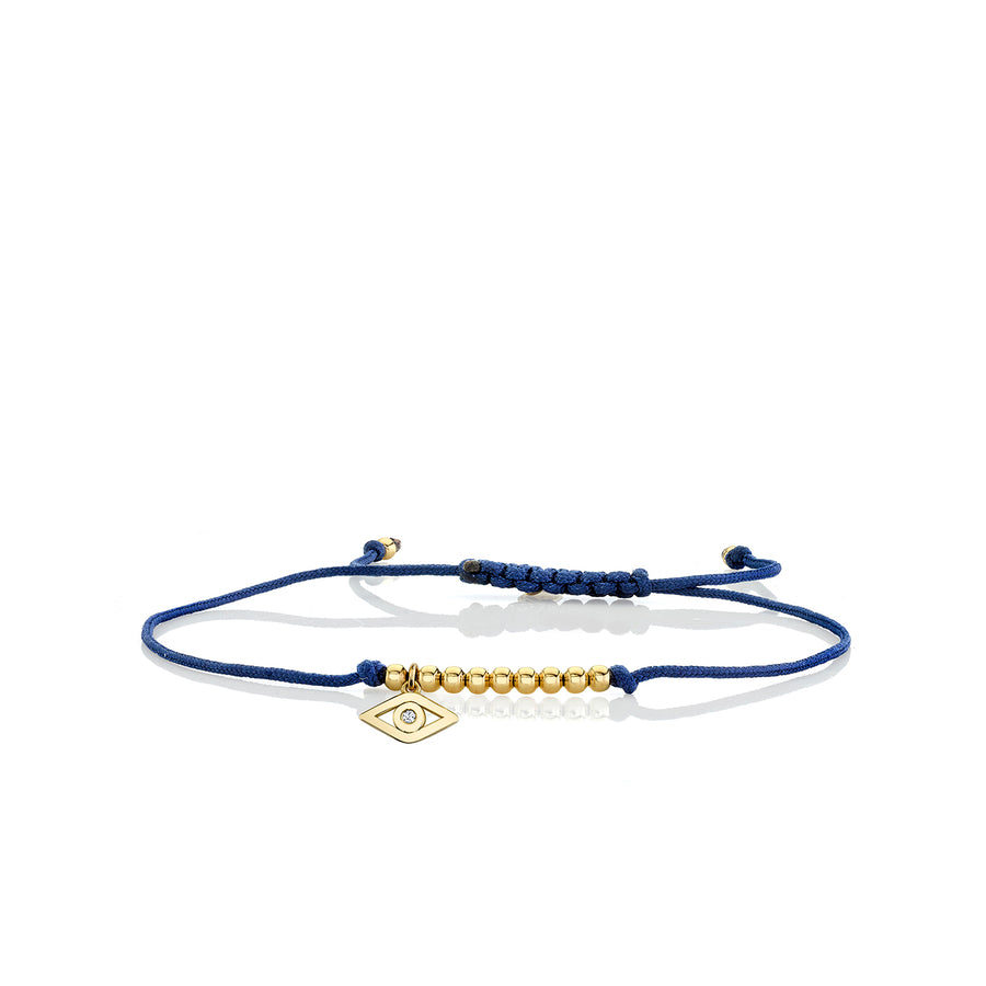 Gold & Diamond Tiny Evil Eye Cord Bracelet