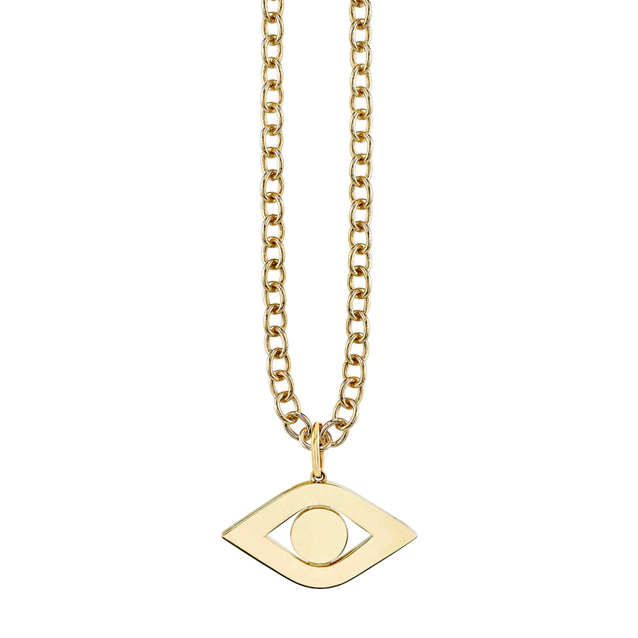 Pure Gold Extra Large Evil Eye Link Charm Necklace