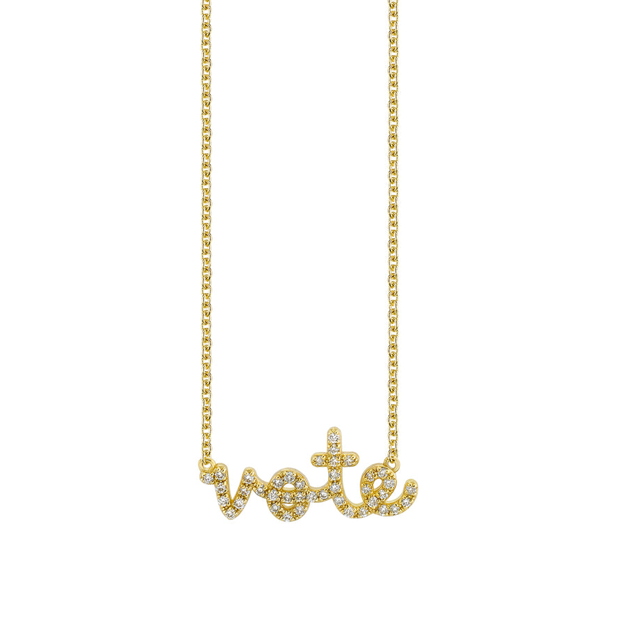 Gold & Diamond Small Vote Necklace