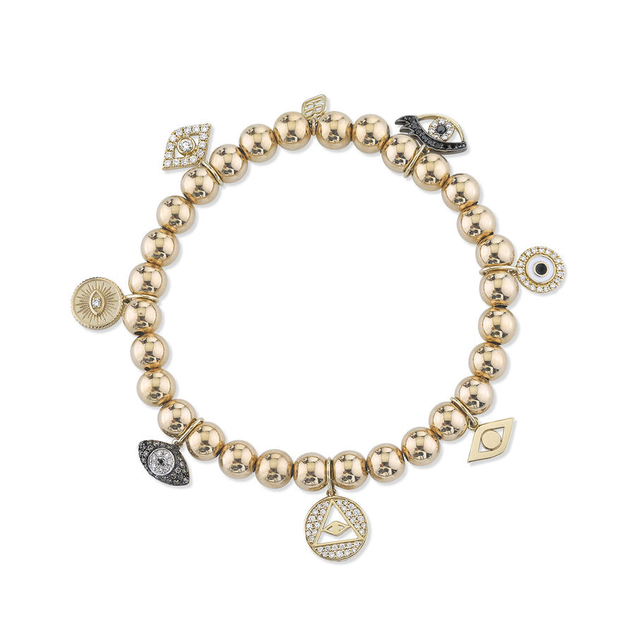 Gold & Diamond Protection Multi-Charm on Gold Beads