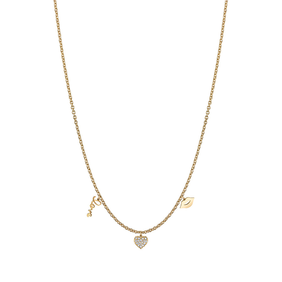 Gold & Diamond Love 3 Multi-Charm Necklace