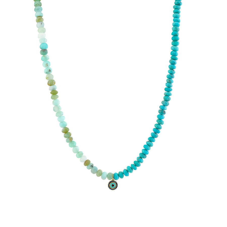 Gold & Sapphire Evil Eye Turquoise & Opal Necklace