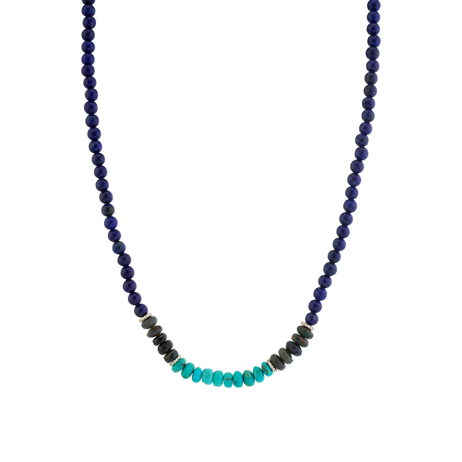 Gold & Diamond Rondelle on Opal, Turquoise & Lapis Necklace