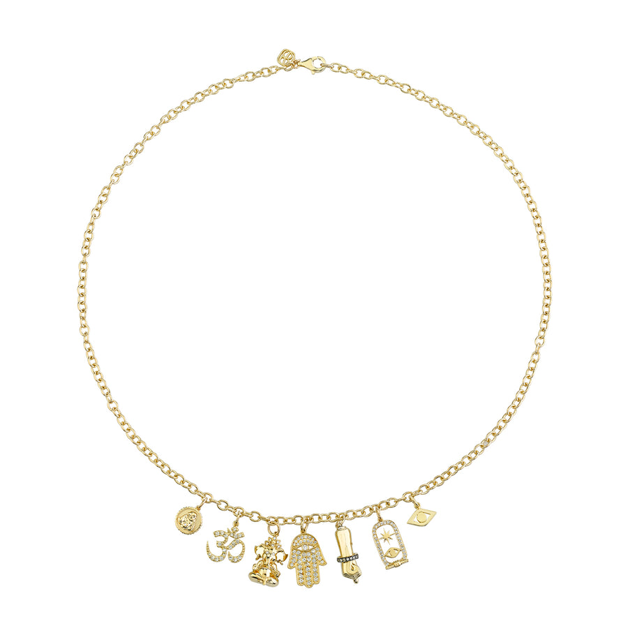 Gold & Diamond Spiritual Multi-Charm Necklace