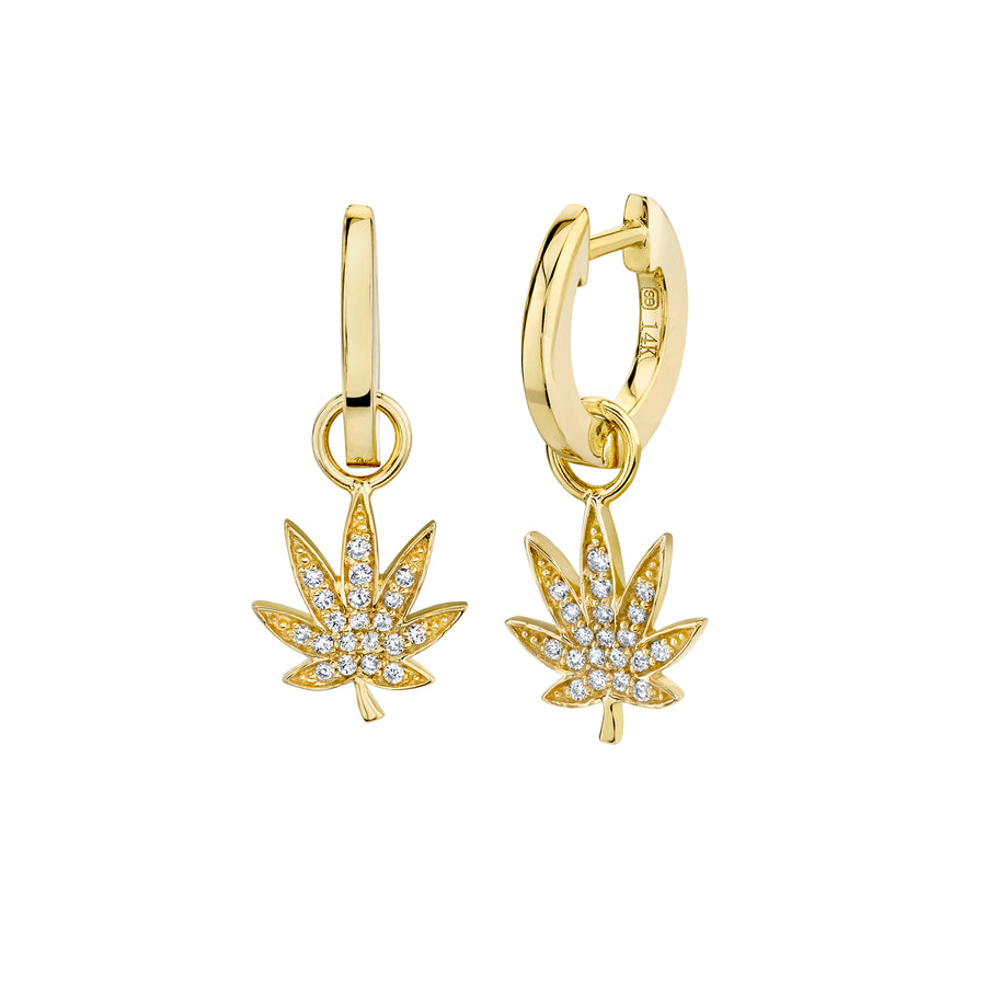 Gold & Diamond Pot Leaf Charm Hoops