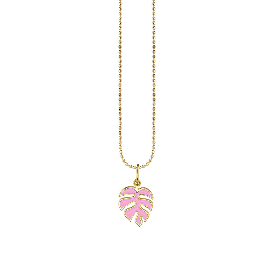 Yellow Gold & Enamel Monstera Leaf Necklace