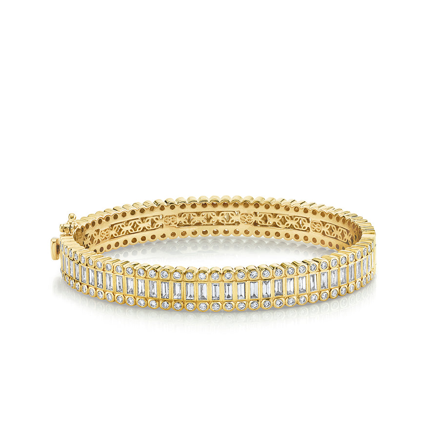 Gold & Diamond Baguette and Round Bezel Eternity Bangle
