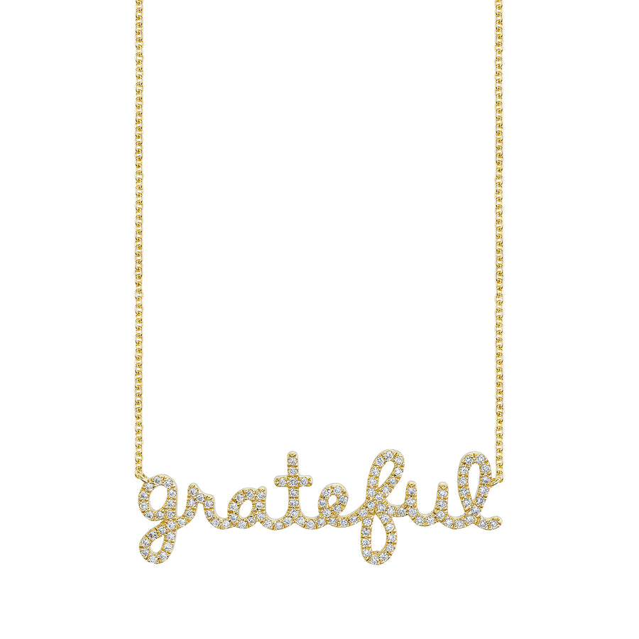 Gold & Diamond Grateful Script Necklace