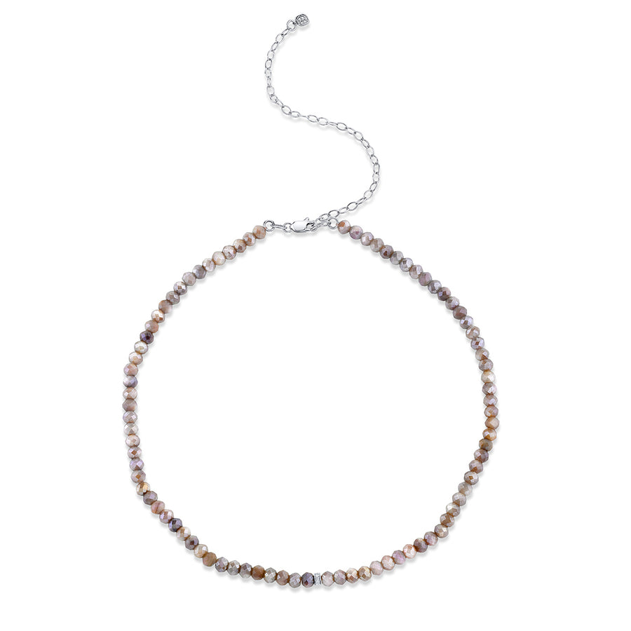 White Gold & Diamond Small Rondelle Australian Moonstone Choker