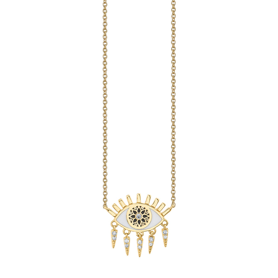 Gold & Diamond Small Kaleidoscope Eye Fringe Necklace