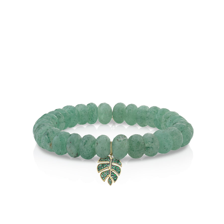 Gold & Emerald Monstera Leaf on Natural Green Quartz