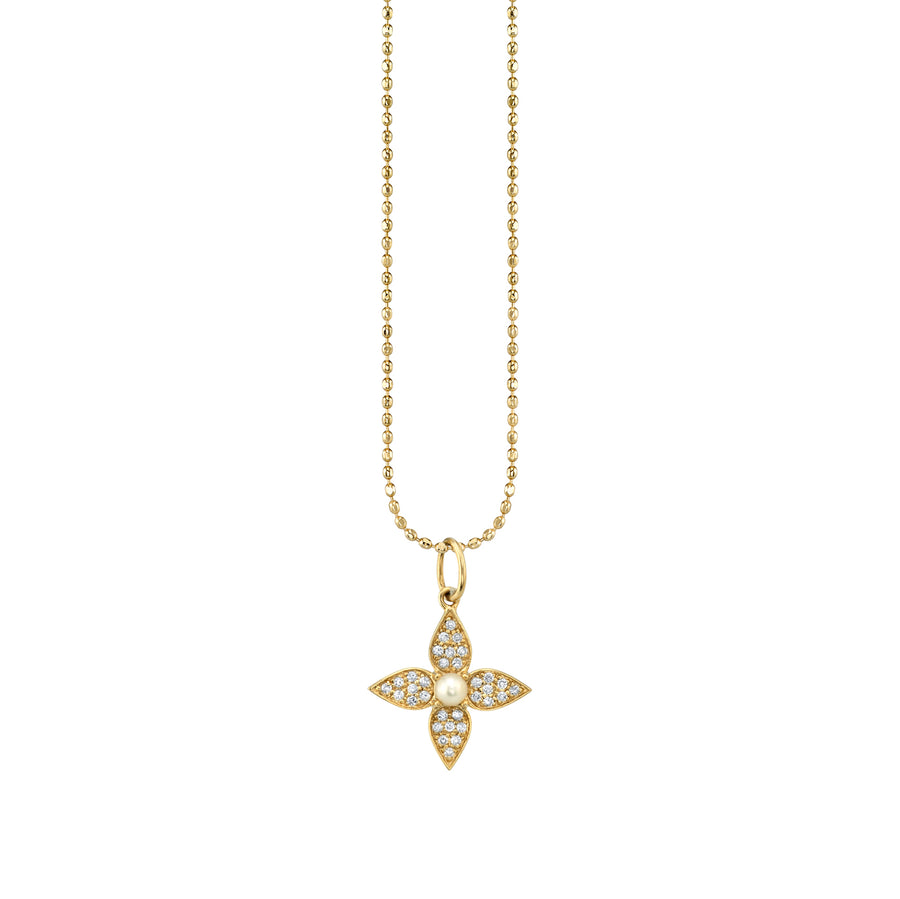 Gold & Diamond Paisley Flower Charm Necklace