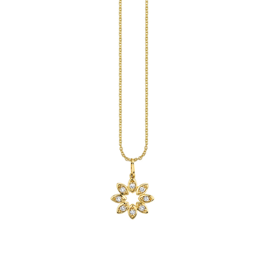 Gold & Diamond Marquis Flower Necklace