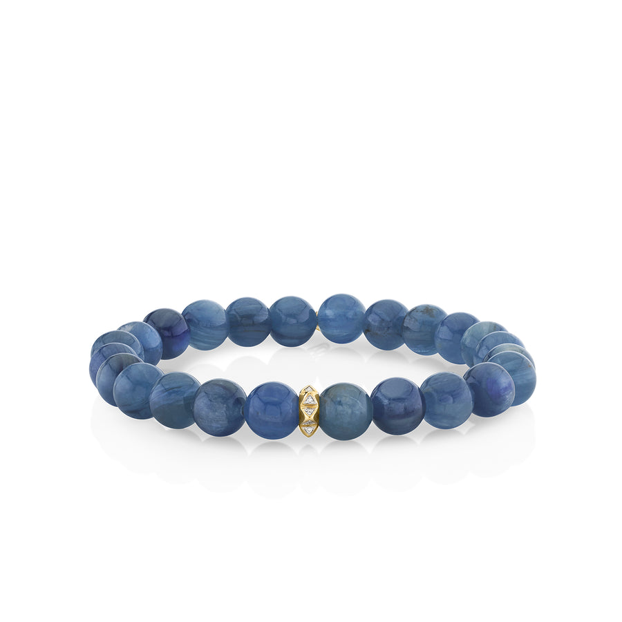 Men's Collection Gold & Diamond Pyramid Rondelle on Kyanite