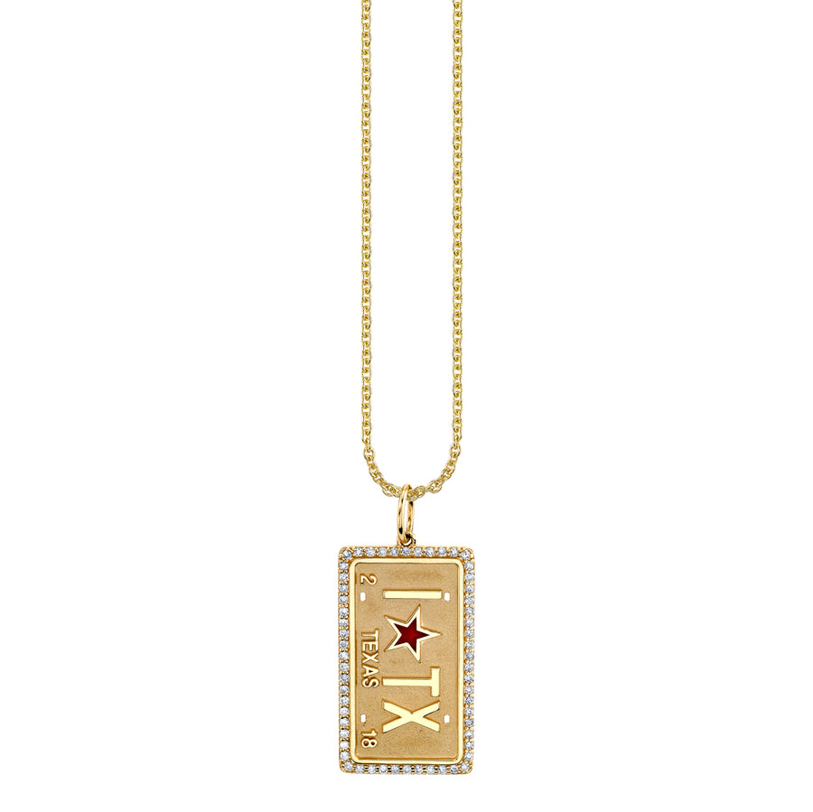 Gold & Diamond I Star TX License Plate Necklace