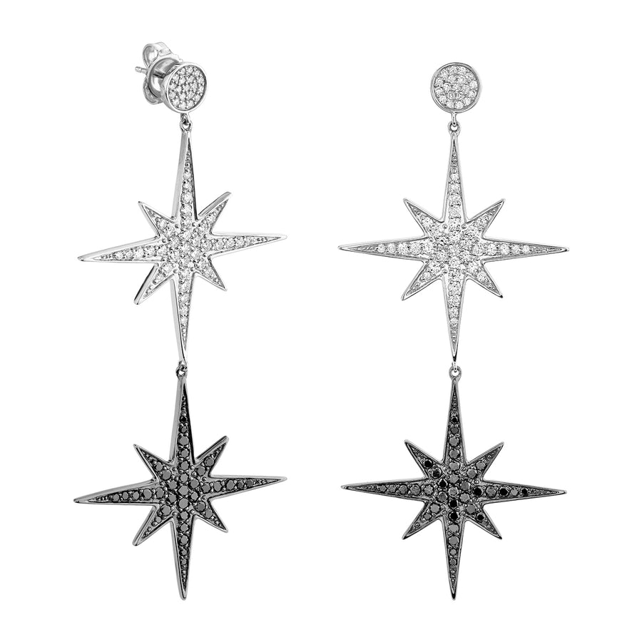 Gold & Diamond Starburst Statement Earrings