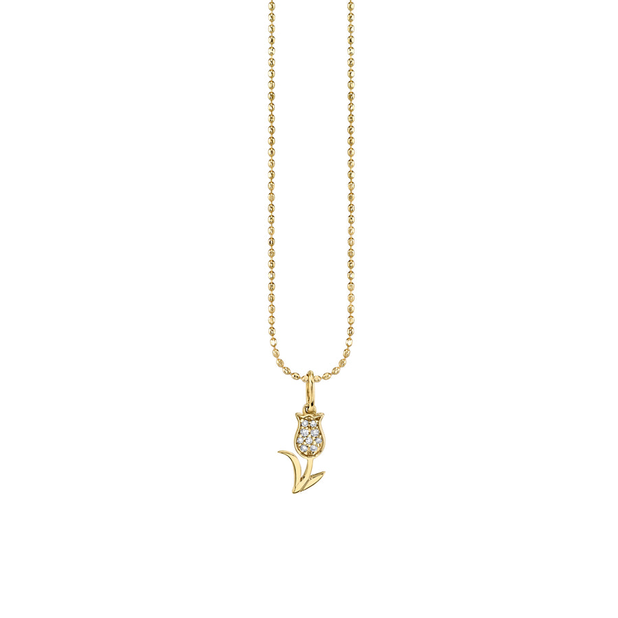 Gold & Diamond Mini Tulip Necklace