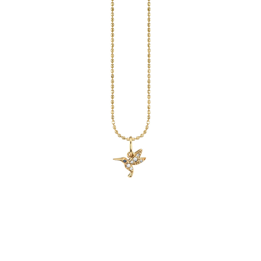 Gold & Diamond Tiny Hummingbird Charm Necklace