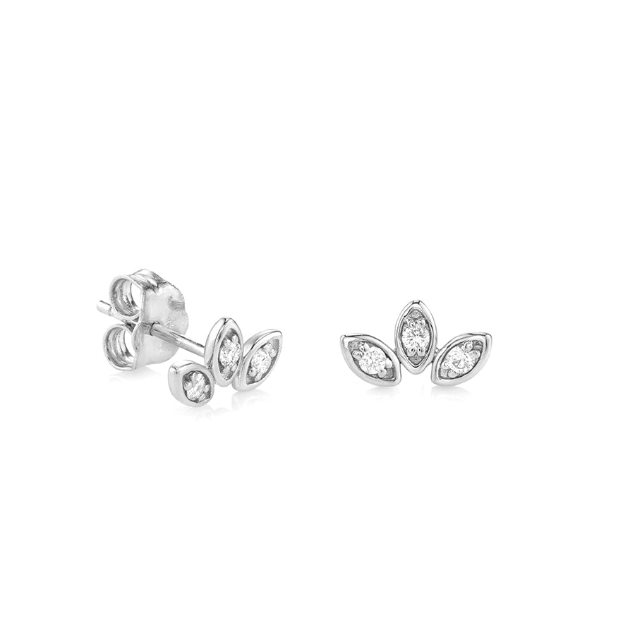 Gold & Diamond Marquis Petal Trio Studs