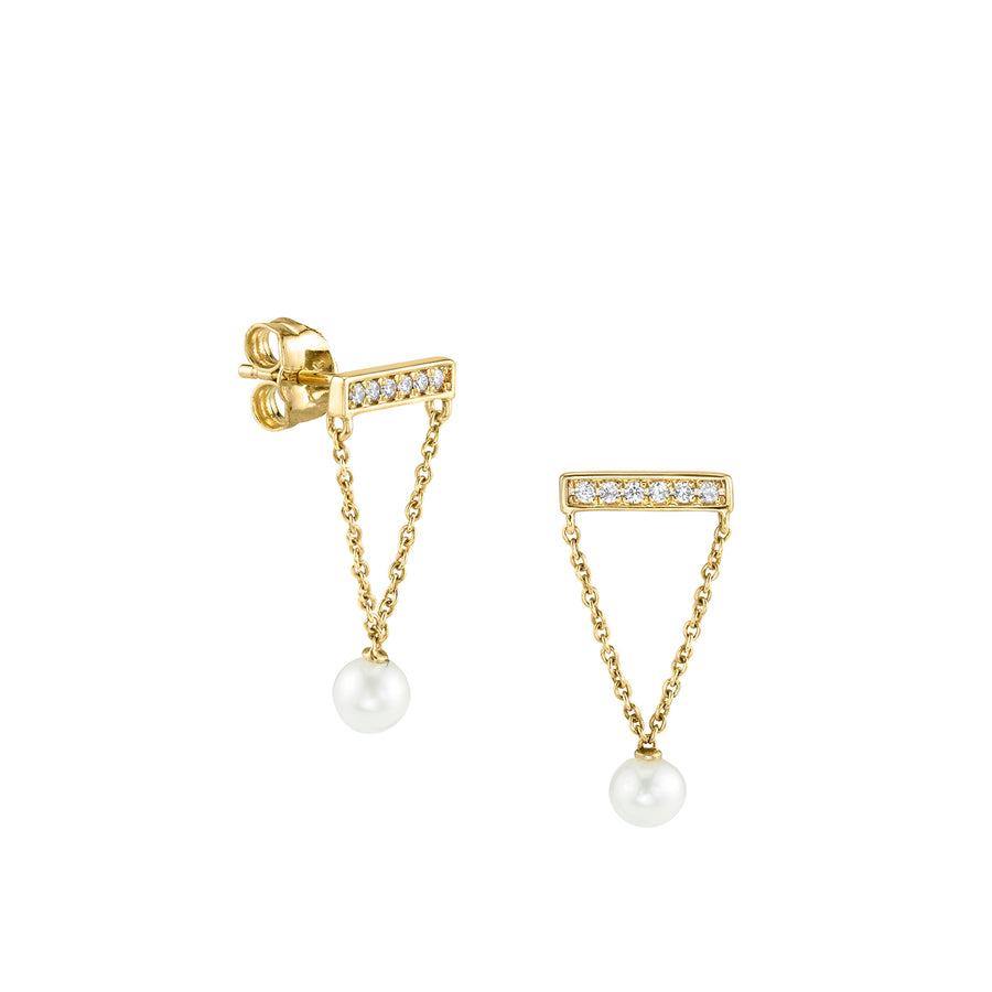 Gold & Diamond Bar Studs with Pearls