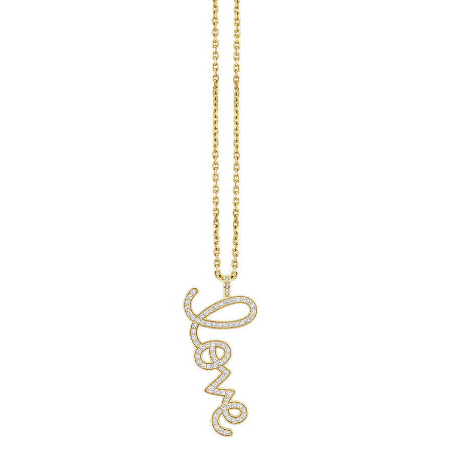 Gold & Diamond Extra Large Love Script Charm Necklace