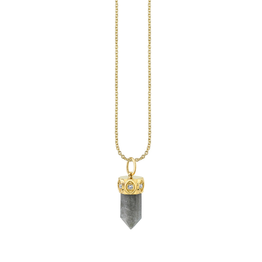 Gold & Diamond Short Carved Stone Pendant Necklace