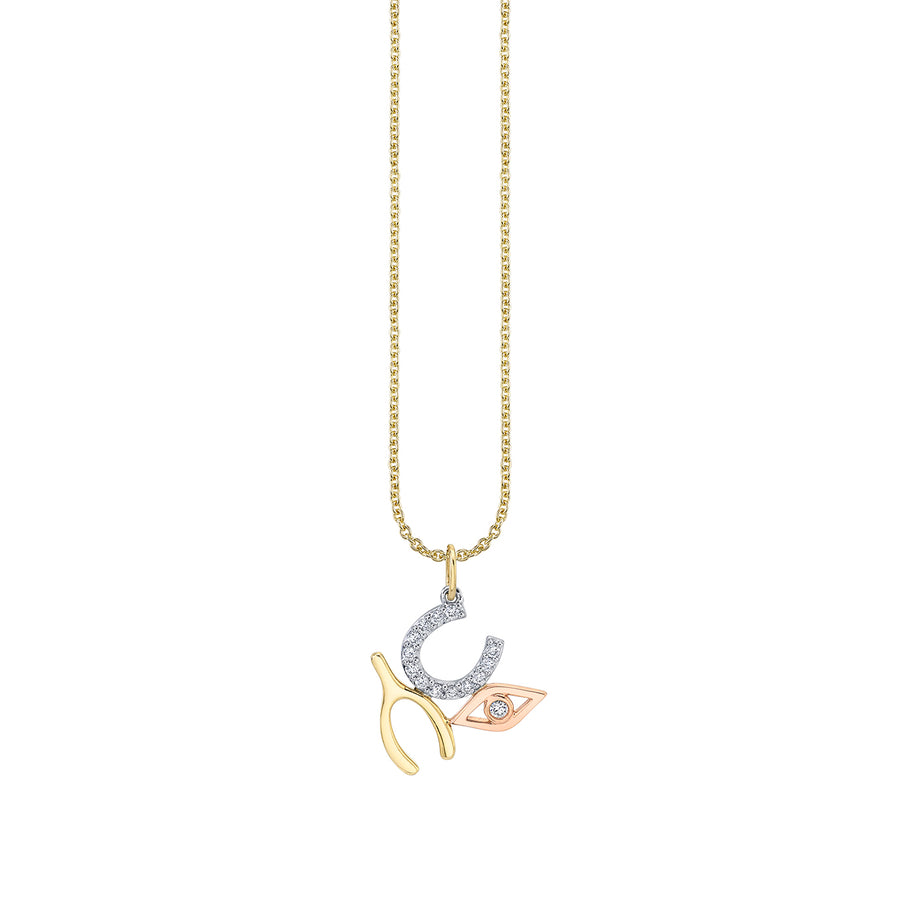 Gold & Diamond Large Luck & Protection Necklace