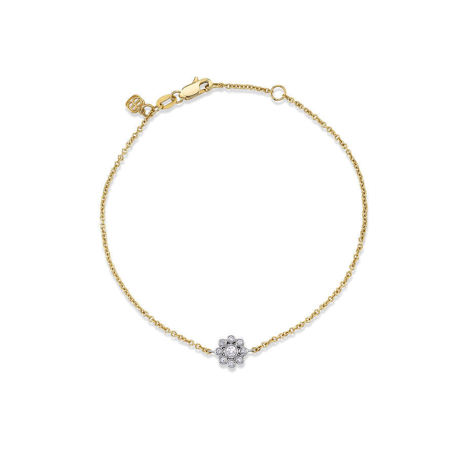 Two-Tone Gold & Diamond Bezel Flower Bracelet