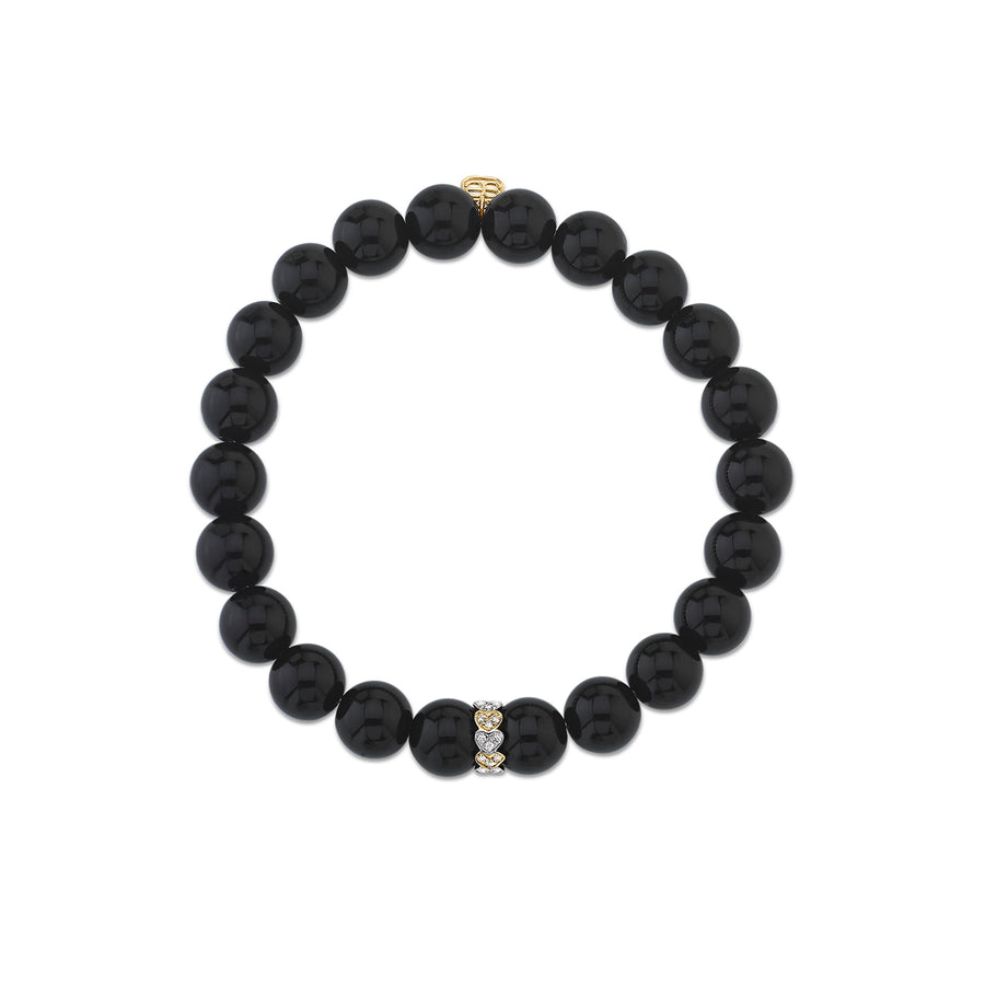Two-Tone Gold & Diamond Eternity Heart Rondelle on Onyx
