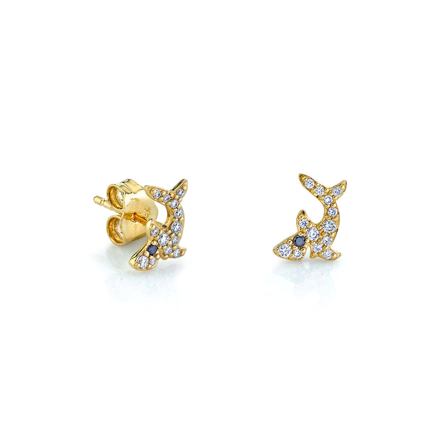 Gold & Diamond Shark Studs