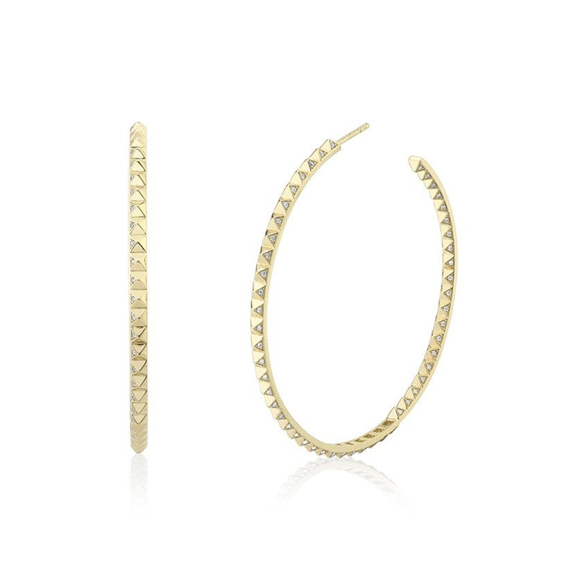 Gold & Diamond Large Pyramid Spike Hoops