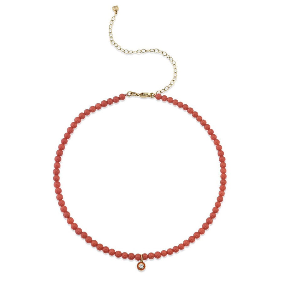 Gold & Diamond Small Enamel Red Bamboo Coral Necklace