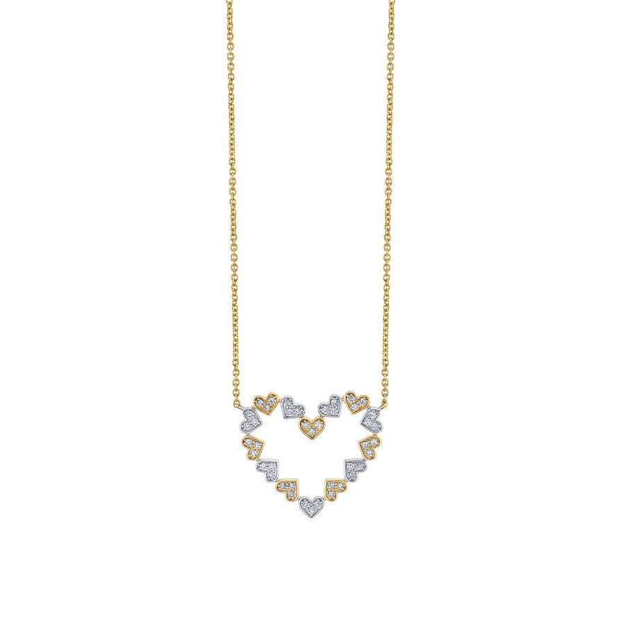 Two-Tone Gold & Diamond Heart Necklace