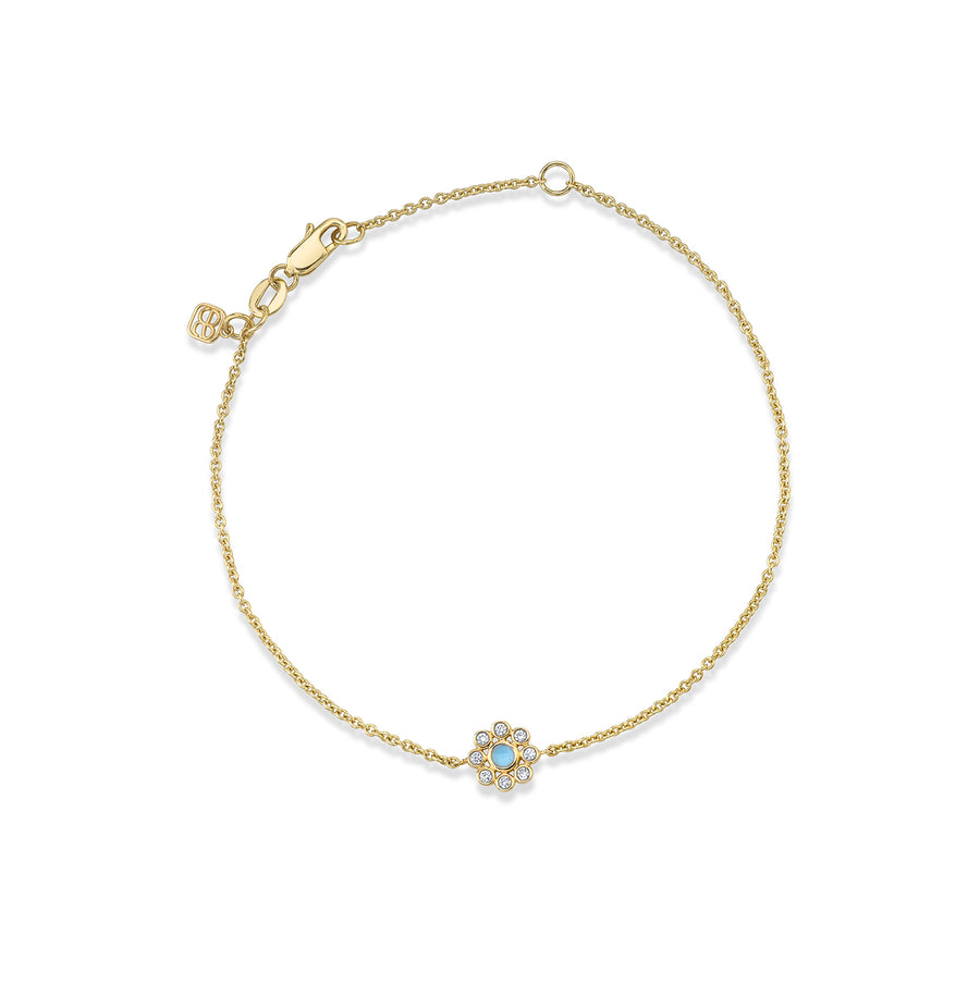 Gold & Diamond Bezel Enamel Flower Bracelet