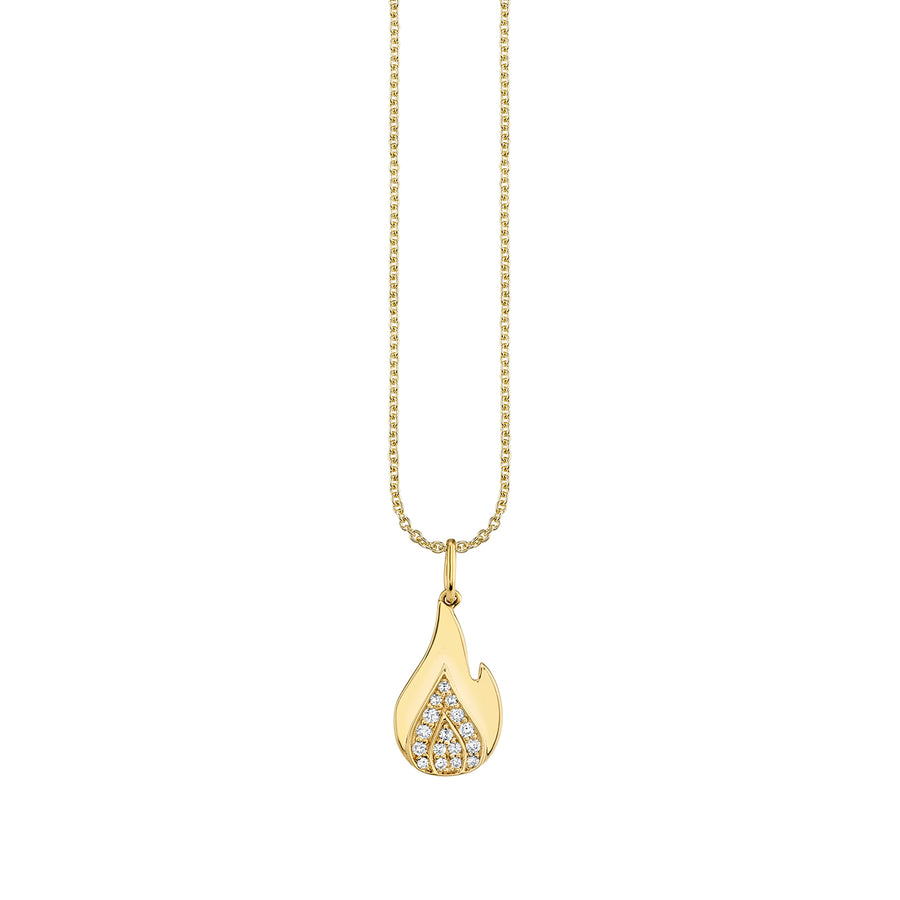 Gold & Diamond Small Flame Necklace