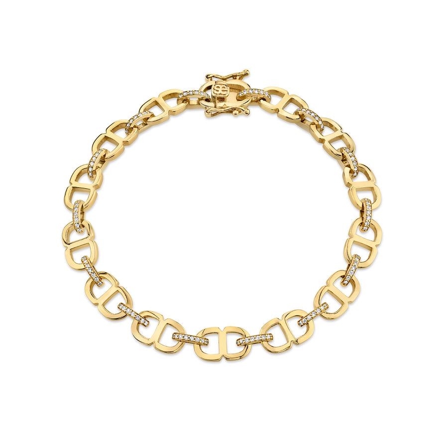 Gold & Diamond Small Love 18 Link Eternity Bracelet