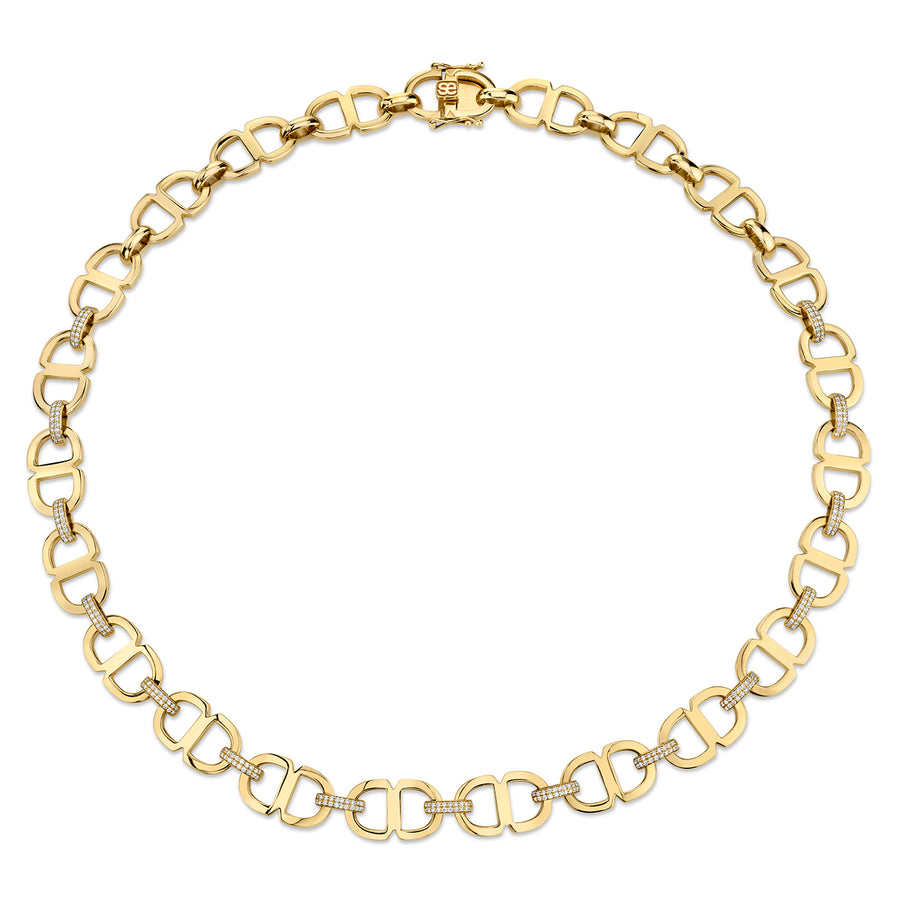 Gold & Diamond Large Love 18 Link Necklace