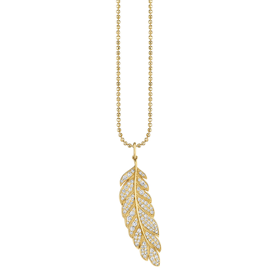 Gold & Diamond Large Feather Charm Necklace